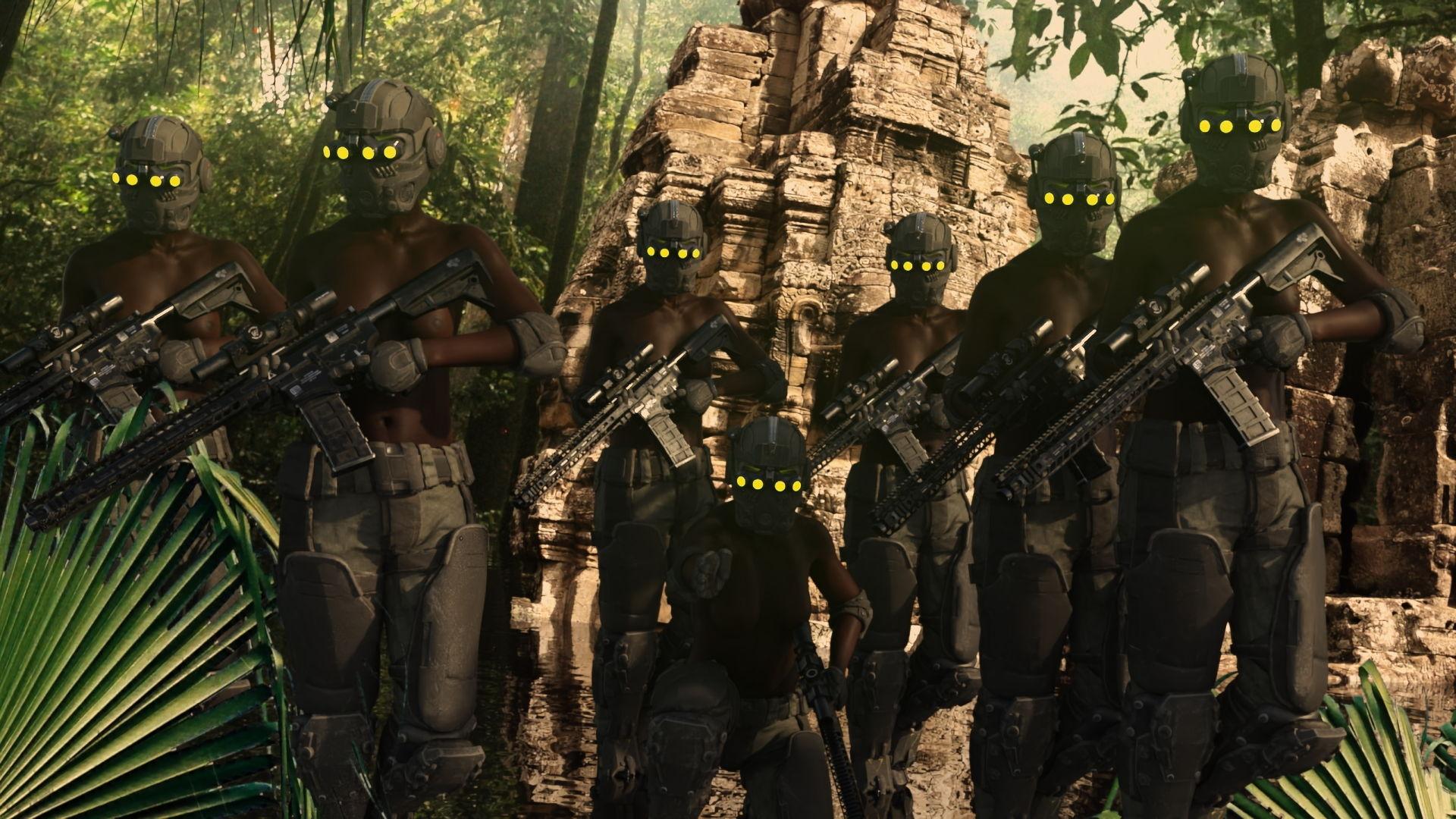 全頭マスクの兵士たち