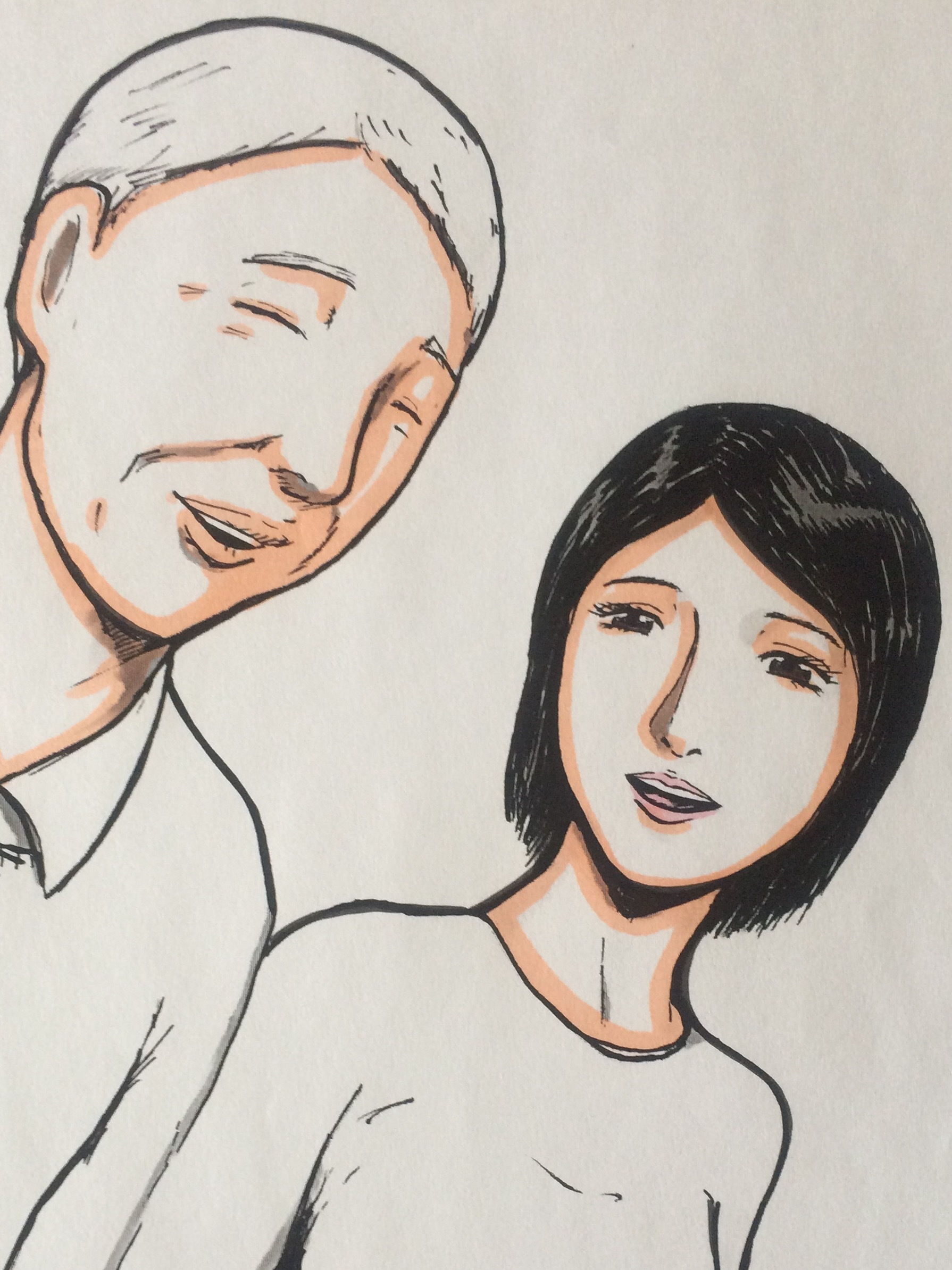 愛する夫と散歩する人妻へ向けられる邪な視線