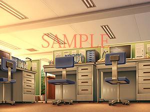 著作権フリー背景CG素材「オフィス 部屋ローアングル」