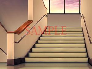 著作権フリー背景CG素材「階段踊り場」