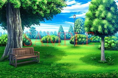 著作権フリー背景CG素材「緑のある庭」
