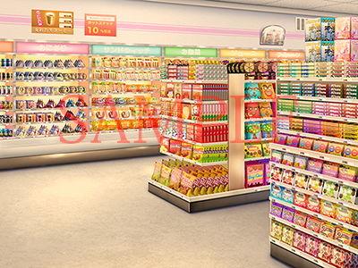 著作権フリー背景CG素材「コンビニ店内」