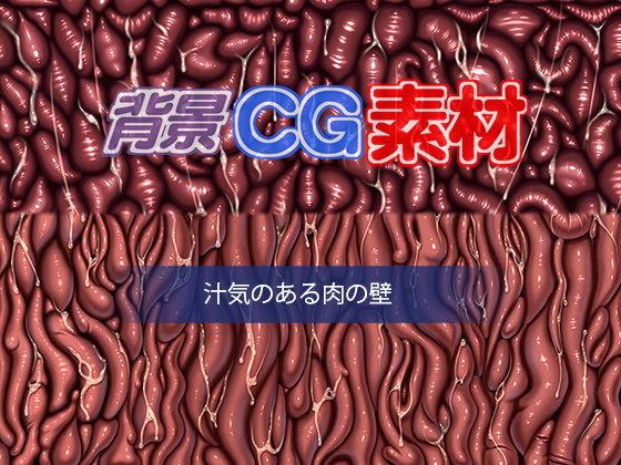 著作権フリー背景CG素材「汁気のある肉の壁」