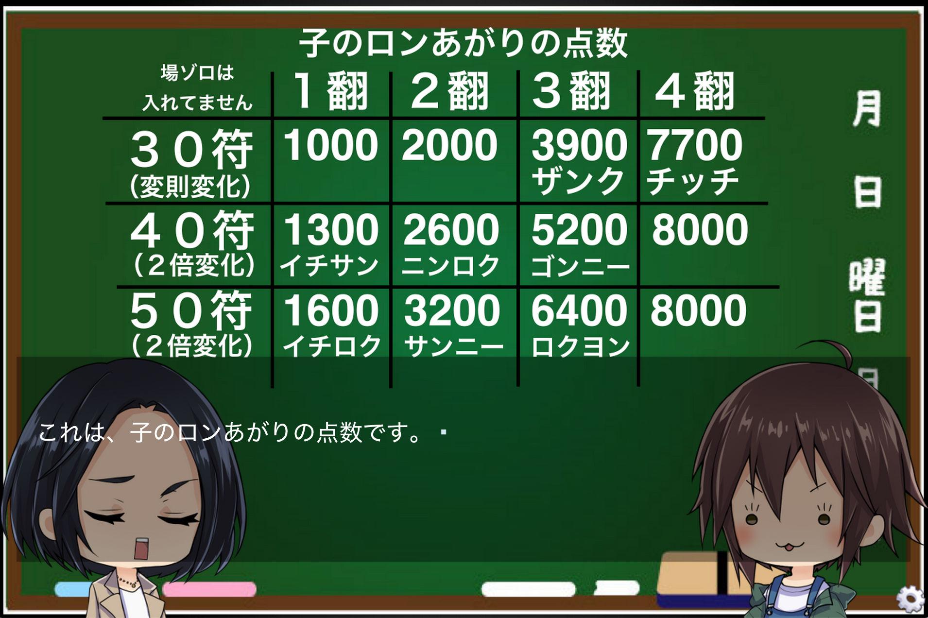 サンプル画像5:麻雀の点数計算を覚えられるゲーム(windows用)(ZIZANION GAME) [d_160134]
