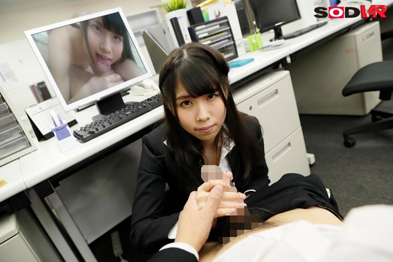 【VR】隣の席は美人後輩女子社員相沢さつき 残業後の誰もいなくなった深夜のオフィスで無理やりストッキング引き裂き強制押さえ込み生セックス キャプチャー画像 5枚目