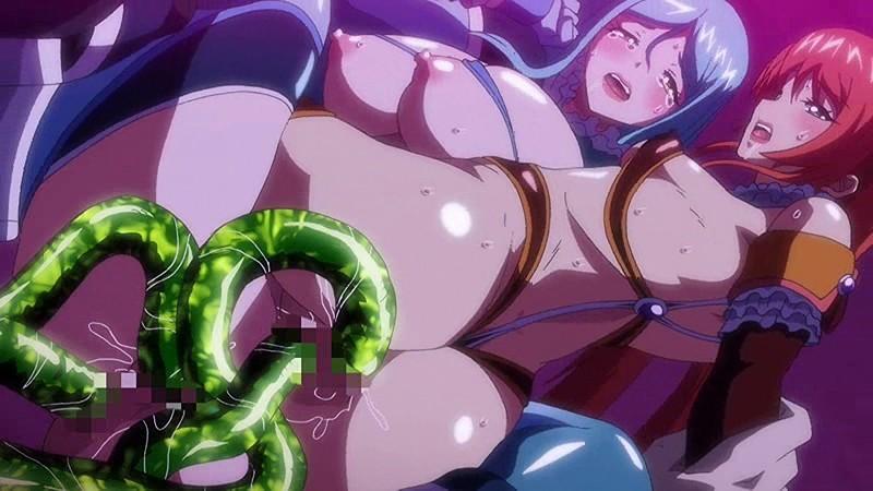 マンコとアナル両穴触手でおかされる魔法少女