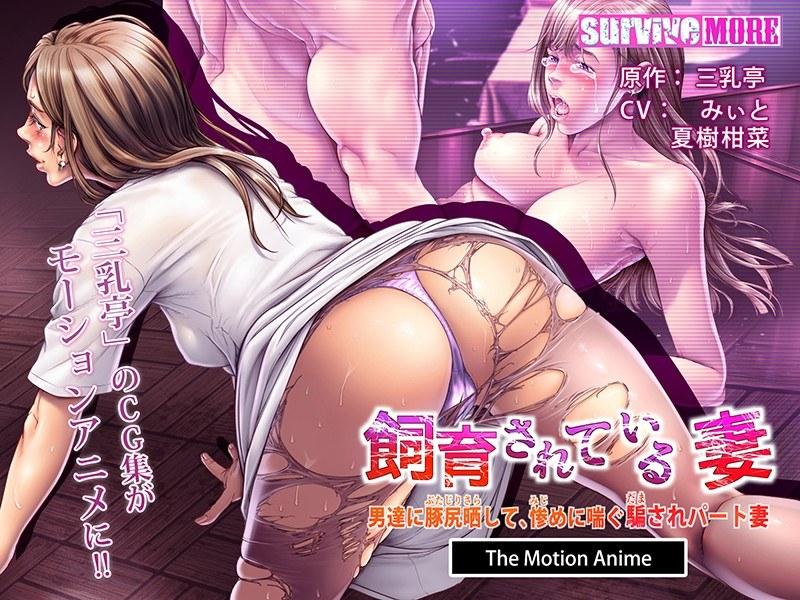 飼育されている妻~男達に豚尻晒して、惨めに喘ぐ騙されパート妻 The Motion Anime パッケージ写真