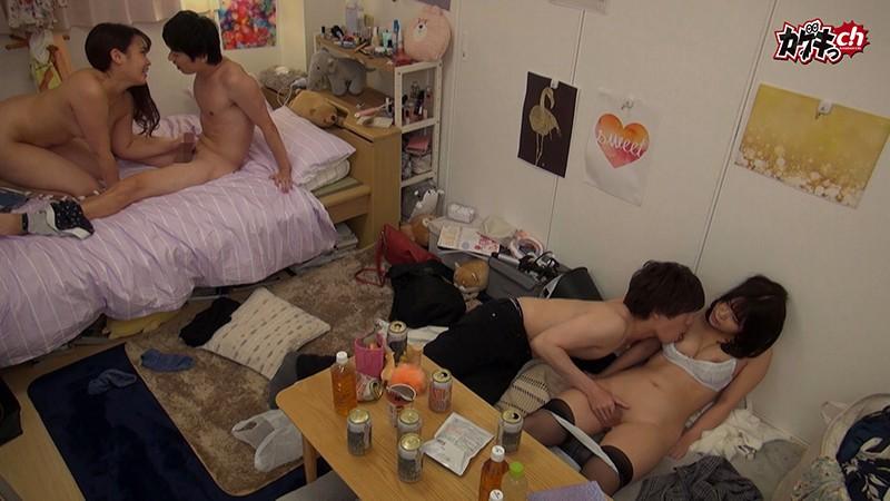 ニンゲン観察 宅呑みしていた男女4人が性欲に負け同じ部屋でそれぞれに見られながらの倒錯セックス 画像11