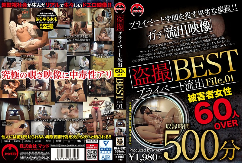 h_286bak00032 盗撮 プライベート流出500分 BEST File.01 [BAK-032]のパッケージ画像