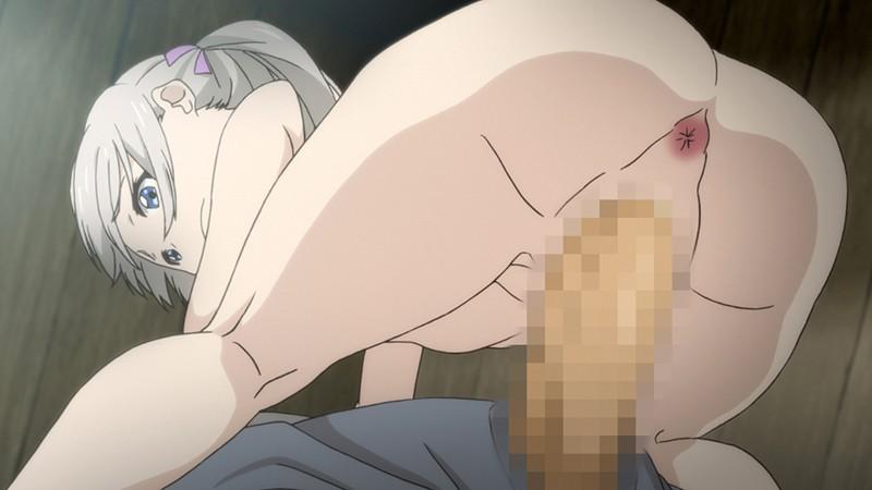 【エロアニメ】お尻痛いよ…アナルに中出しされる貧乳少女…
