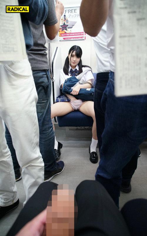 【VR】向かいの席から見せつけてくる女子○生の電車パンチラで挑発されて…3