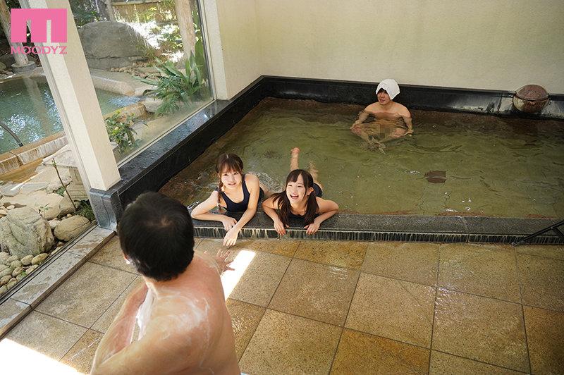 姪っ子たちとの温泉旅行で一緒に男湯入浴中、ちびっ子W尻挟み撃ちで10発イタズラ射精させられまくったボク 松本いちか 工藤ララ2