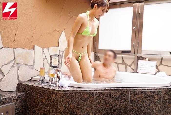 ナンパJAPAN検証企画!「絆を深めるには混浴が一番って知ってましたか?」オフィス街で声をかけた男上司と女部下が二人きりで初めての混浴!但し用意された水着は極小マイクロビキニのみ!場所はラブホテルのジャグジー!新入社員の女性は仕方なく着替えてほぼ全裸状態に! キャプチャー画像 6枚目