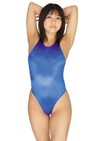光沢ストレッチハイレグ競泳水着 ブルー