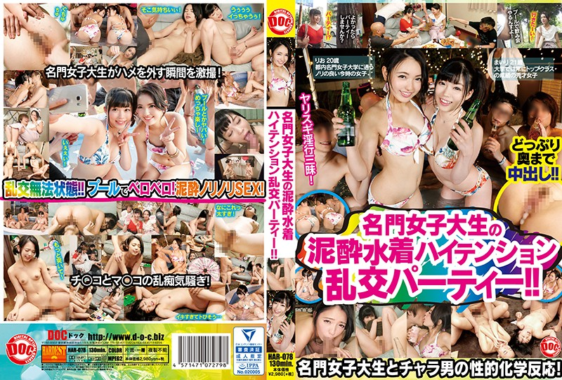 HAR-078 Drunk Swimsuit High-tension Orgy Party Of Prestigious Female College Student! !